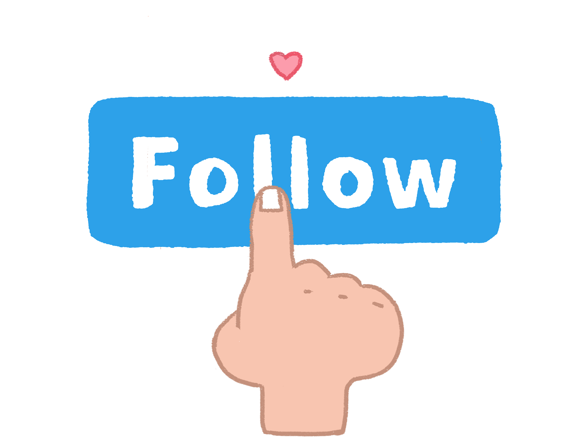 "illustration: someone pressing a ""follow"" button"