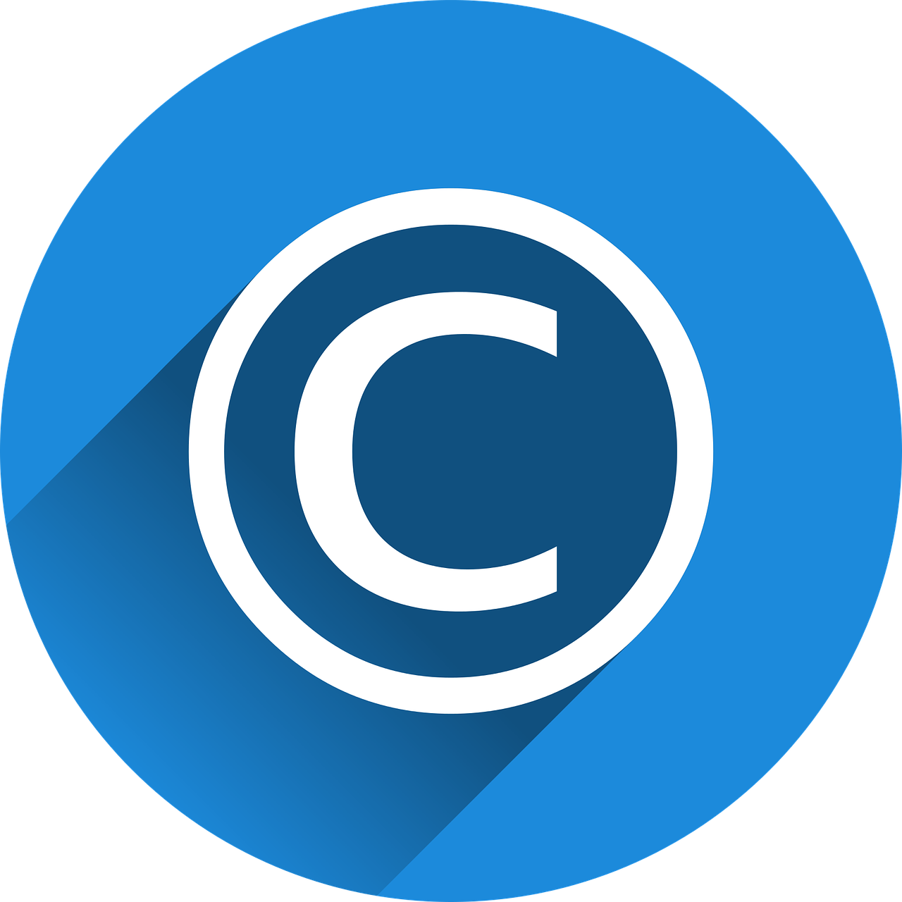copyright symbol, blue and white