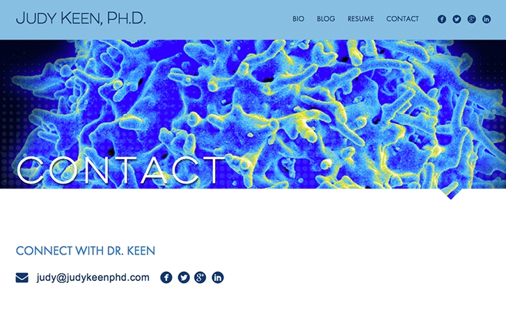 Judy Keen Contact page screenshot