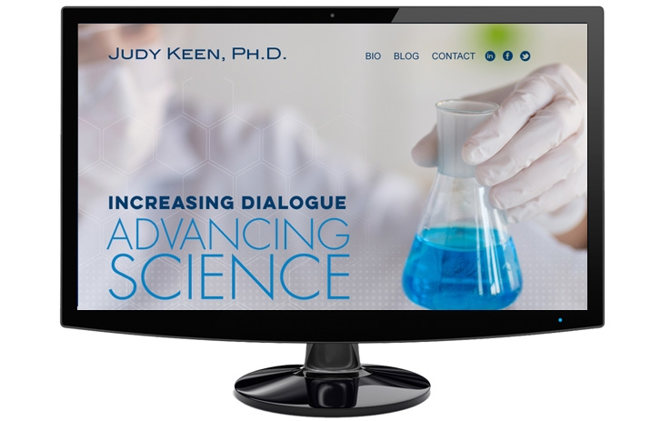 Judy Keen Advancing Science - someone holding a flask with blue liquid